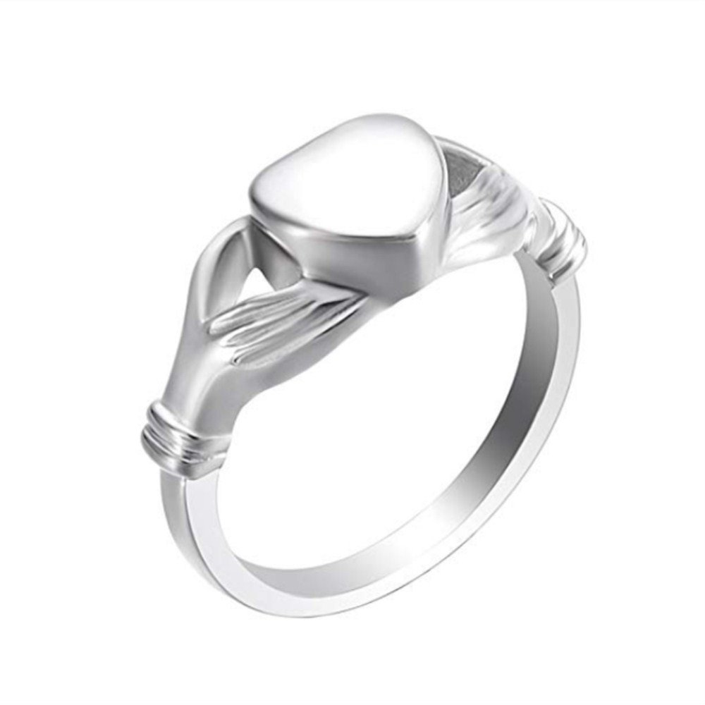 constantlife #6#7#8#9 Engravable Finfinity Love Heart Eternity Ring Stainless Steel Memorial Finger Ring Cremation Jewelry for Ashes (Silver #7)