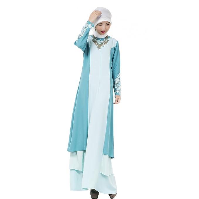 XFentech Mujeres Elegante Moda Empalme de color Vestido de Musulmán Árabe Túnica Manga Larga Largos Maxi