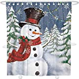 Snowman Shower Curtain Bonsai Tree Christmas Happy Snowman Fabric Shower Curtain, Waterproof and Mildew Resistant Polyester Year SnowflakeBath Curtain with Hooks, 72