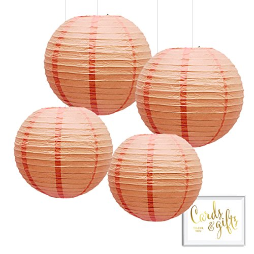 Andaz Press Hanging Paper Lantern Party Decor Kit with Free Party Sign, Peach, 4-Pack, Champagne Spring Summer Wedding Baby Bridal Shower Colored Party Supplies Decorations