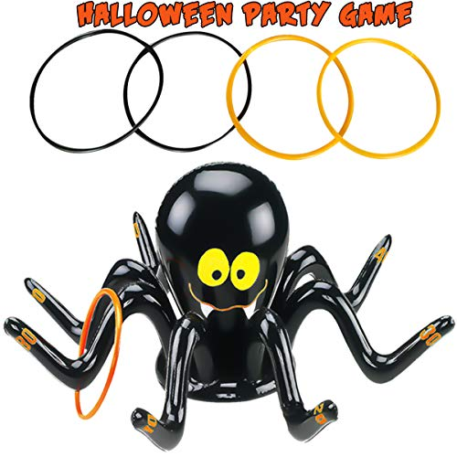 Indoor Halloween Games For Kids (Halloween Party  Ring Toss Game, Inflatable Black Spider with 4 Pcs Rings Halloween Kids Outdoor Indoor School Party Carnival Lawn Games Halloween Party)