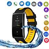 Hangang N68 Colorful Smart Bracelet IP67 Waterproof Smartwatch Support Bluetooth 4.0, Heart Rate Monitor, Blood Pressure Detection,Steps,Calories,Sleep Monitor, for Android4.4 and IOS 8.0 (yellow)