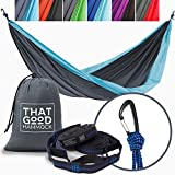 ABOUT THAT GOOD HAMMOCK We've done extensive research to pinpoint what makes the BEST hammock. Our premium quality camping hammock comes with triple stitching for optimal durability, wiregate carabiners for snag-free and secure fastening, and tree-fr...