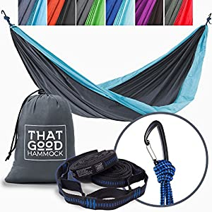 THAT GOOD HAMMOCK Double Camping Hammock w/ Hammock Straps & Wiregate Carabiners. Portable Nylon Parachute Hammock for Backpacking Camping & Travel (Dark Grey & Sky Blue)
