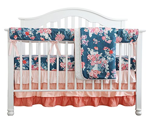 Coral Navy Floral Baby Crib Bedding Set Minky Blanket Crib Rail Cover Peach Navy Floral Girl Crib Set Floral Ruffled Crib Skirt (4 pcs ()