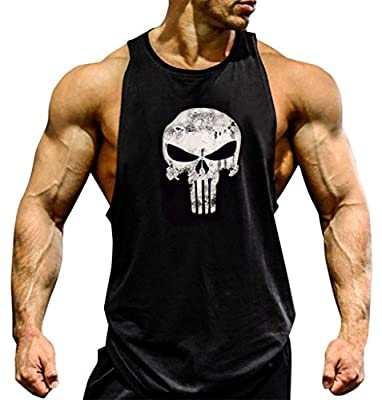 Gillbro Mens Muscle Workout T-Shirt Bodybuilding Tank Top,A,L