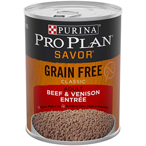 Purina Pro Plan Grain Free, High Protein Wet Dog Food; SAVOR Classic Beef & Venison Entree - 13 oz. Can, Pack of 12