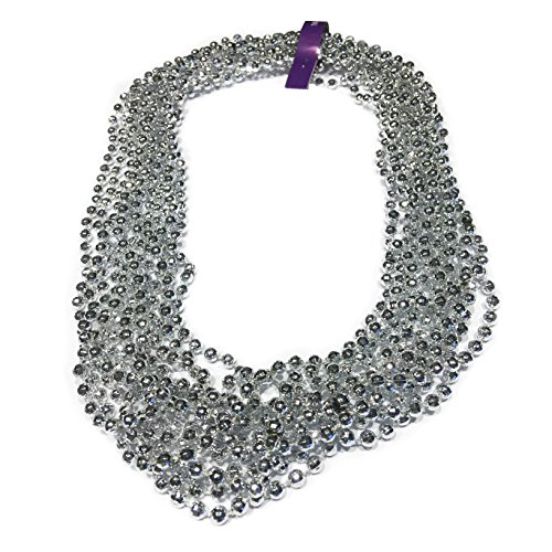 Elite Choice Beaded Silver Party Necklace - 12 Pretend Bead Necklaces Per Pack - Made for Tailgating, Birthday Parties, Festivals and Parades (Silver Play Necklaces) ()