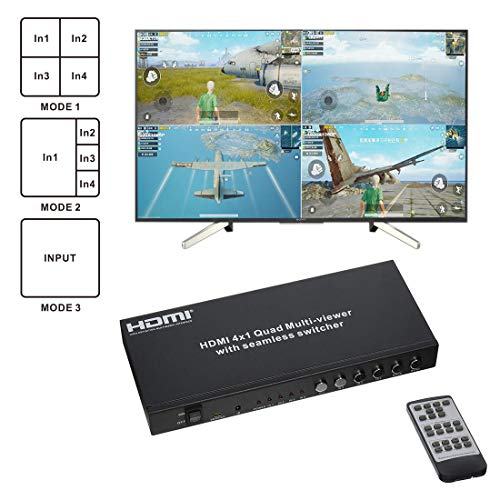 - Eazy2Hd Hdmi 4X1 Quad Multi-Viewer with Seamless Switcher with Ir Wireless Remote