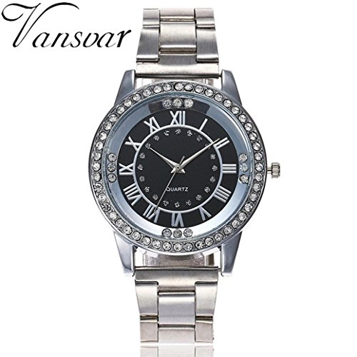 Luxury Iced Out Pave Floating Crystal Quartz Calendar Rose Gold Stainless Steel Watch (Black)