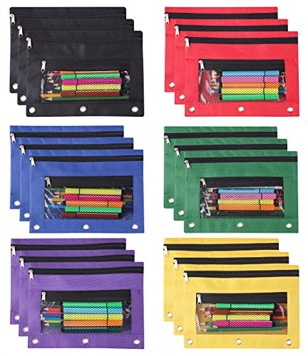 LaOficina 18 Packs Pencil Bags, 3 Ring Zippered Pencil Pouches Organizer for Stationery Accessories, Documents, Daily Essentials, 25cm x 18cm, Metal Zipper
