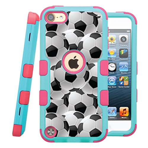 iPod touch 5th / 6th Case, CASECREATOR[TM] For Apple iPod touch 5th / 6th generation () -- NATURAL TUFF Hybrid Rubber Hard Snap-on Case Pink Teal Blue-Soccer Balls
