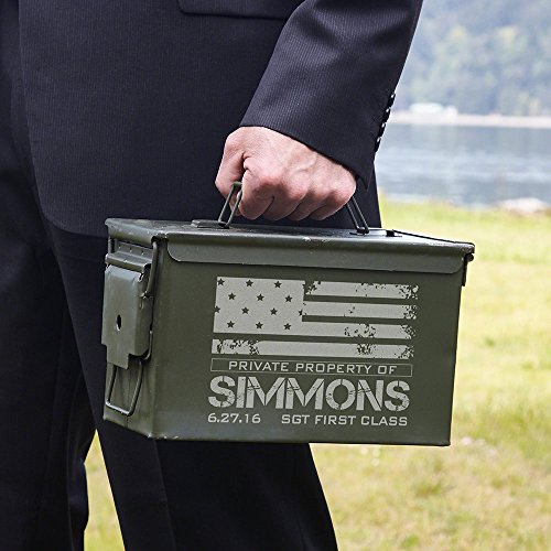 American Heroes Personalized 50 Caliber Ammo Box Can (Customizable Product)