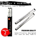 Crafts 4 All Permanent fabric marker Laundry Marker Non bleed Dual tip - 2 pack , BLACK