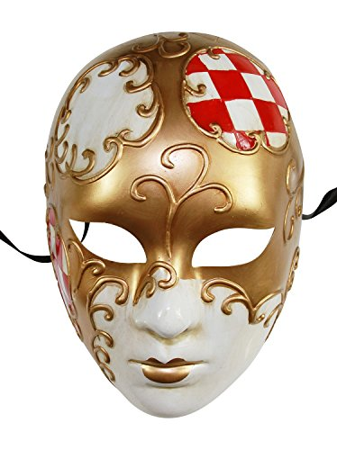 Red Princess Bride Costume (KAYSO INC Full Face Checker Venetian Jester Masquerade Mask Unisex (Red))
