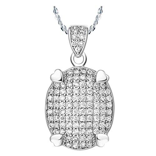 Plaqu¨¦ or Collier, Femme Bijoux De Mode Pendentif Collier Zircone Cubique Argent Epinki