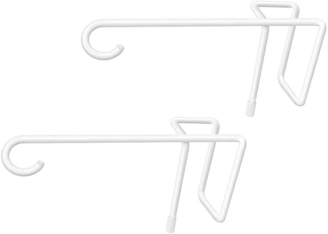 JOYSEUS 2 Pack Vinyl Fence Hooks, 5 x 10 Inches Durable White Powder Coated Steel Fence Hanger for Hanging Plants,Bird feeders, Lights, Pool Equipment