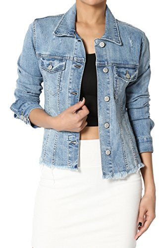 Denim Edge Jacket - TheMogan Junior's Distressed Frayed Hem Washed Stretch Denim Jacket Medium L