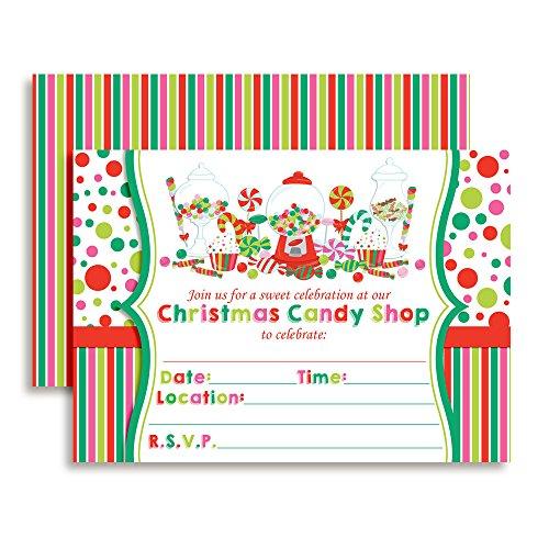 Shop Invitation Birthday (Christmas Sweet Shoppe Candy Shop Birthday Party Invitations, 20 5