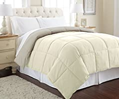 Save on Amrapur Overseas | Goose Down Alternative Microfiber Quilted Reversible Comforter / Duvet Insert - Ultra Soft Hypoallergenic Bedding - Medium Warmth for All Seasons