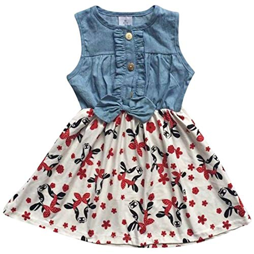 Unique Baby Girls Denim Cow Print Summer Dress (4t/M) -