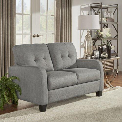 Dillion Urban Track Arm Tufted Back Cushion Loveseat Sofa Soft Grey