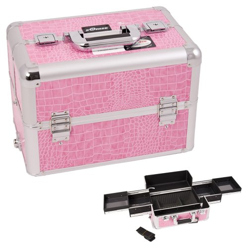 [Sunrise Pink Interchangeable Easy Slide Tray Crocodile Textured Printing Professional Aluminum Cosmetic Makeup Case With Dividers -] (Group Dressing Up Ideas)
