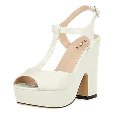 ffd12cae507a6 ZriEy Women's Peep Toe High Heel T-Strap Platform Chunky Heels Sandals