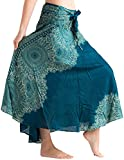 vvProud Women's Long Hippie Bohemian Skirt Gypsy Dress Boho Clothes with Flowers | One Size Fits Asymmetric Hem Design (Ocean Rose)