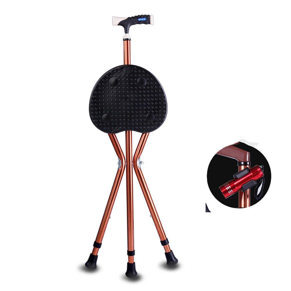 MYT Walking Stick Three Legged Seat Stick Aluminium Height Adjustable With LED Healthcare Folding Seat Cane Disability Medical Aid 82-93 Cm,1,93Cm