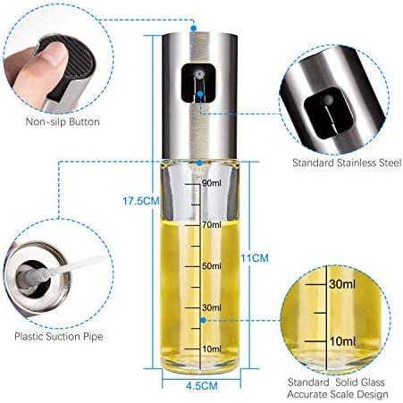 iTrunk Olive Oil Sprayer for Cooking 4 IN 1 Refillable Oil and Vinegar Dispenser Bottle with Basting