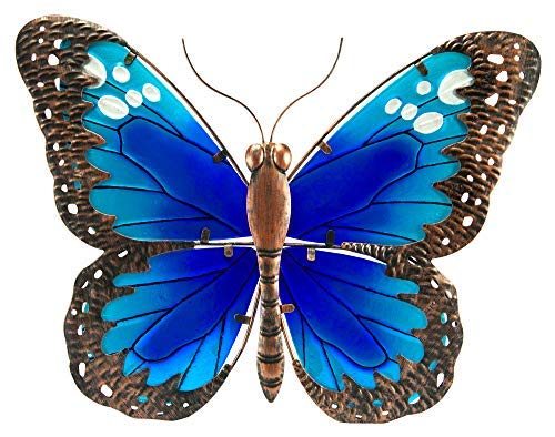 The Paragon Garden Decor - Butterfly Patio Wall Decoration, Metal Glass Sculpture, Indoor Outdoor Wall Art
