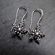 Sparkly Crystal Silver Snowflake Dangle Earrings Jewelry Gift for Women