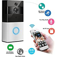 Anrica Wireless Video Doorbell 1080P WiFi Door bell Two-way Talk Home Alarm Security HD 2.4G Phone Remote PIR Motion IR Night Vision Compatile with IOS and Android