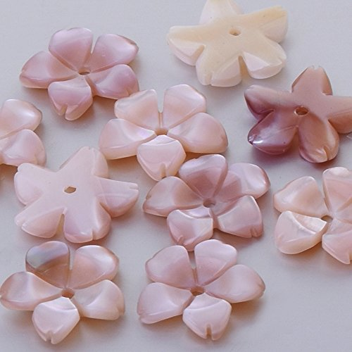 Carved Flower Beads - 8mm pink Mother-of-pearl shell Unique Shape Carved Shell Flower central hole 1mm Shell Jewelry Making,sold 6pcs/lot