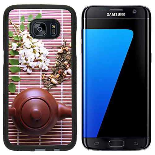 Liili Samsung Galaxy S7 Edge Aluminum Backplate Bumper Snap Case natural floral tea infusion with dry flowers ingredients on bamboo mat background 29374900