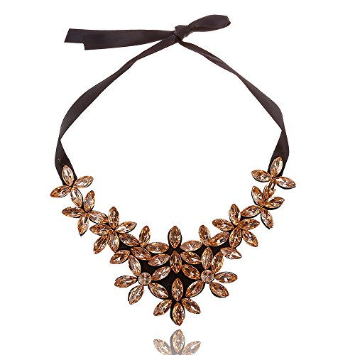 JIN The water diamond necklace European and American water drilling leaves necklace quality and versatile of the ornaments, Coffee Pendant Necklace For Womens