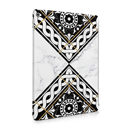 White & Black Marble Moroccan Mosaic Hard Plastic Tablet Case For iPad Air 2