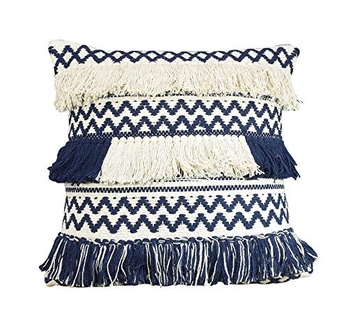(YoTreasure Zig Zag Style Design Fringe Poly Filled Decorative Accent Throw Pillow, 20