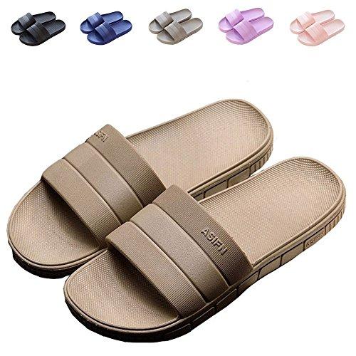 Minetom® Women Men Slip On Slippers Unisex Non-Slip Shower Sandals House Mule Soft Sole Bathroom Water Pool Shoes Indoor Outdoor Flip Flop A Khaki (Men) rVqZC