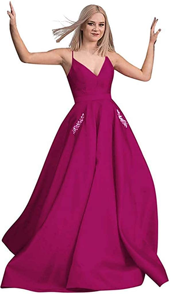 Fuchsia RTTUTED Satin Beaded Prom Dresses Long Ball Gowns for Women Pockets Formal Evening
