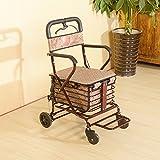 III- Seniors Walker/Trolley/Shopping Cart Can Sit Old Man Travel High-Quality Steel Folding Car