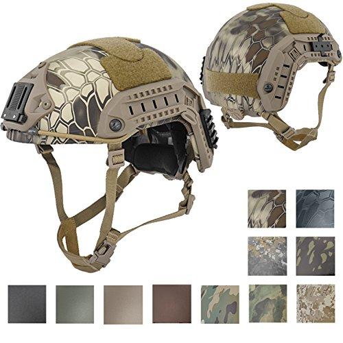 Lancer Tactical LARGE - X-LARGE Industrial ABS Plastic Constructed Maritime Helmet Adjustable Crown with 20mm Side Rail Adapter Velcro padding NVG Shroud Bungee Retention (KRYPTEK (Abs Plastic Helmet)