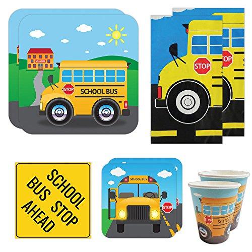 School Bus Deluxe Party Packs (70 Pieces for 16 Guests!), Kindergarten Party Supplies, School Bus (Deluxe Bus)