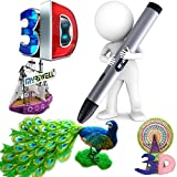 SASRL 3D Professional Printing Pen with LED Display for Doodling, Art & Craft Making, 3D Modeling and Education, Comes with Pen holder and PLA Filament Refills in a nice Gift Box