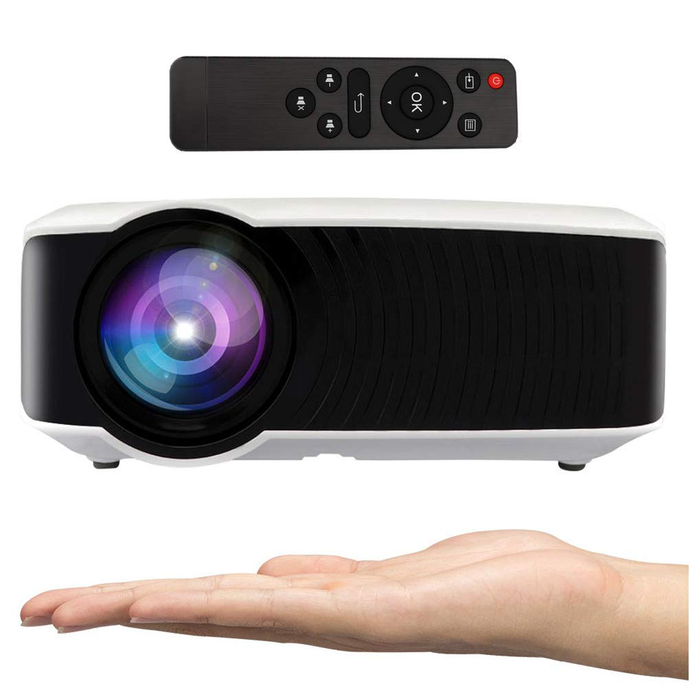 Movie Projector, Hoolick Home Video Projector 2400 Lumen LED Home Theater Portable for Outdoor Movies Gaming TV Laptop, Support 1080P HDMI USB SD Card VGA AV (T22)