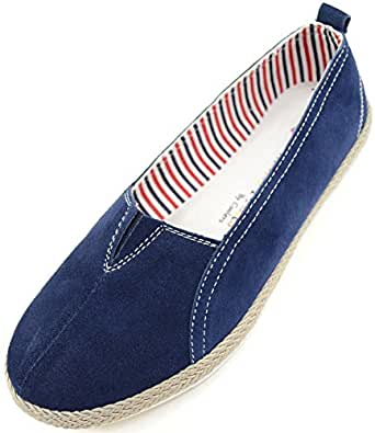 Absolute Footwear Womens Real Leather Suede Slip On Summer/Holiday/Casual Shoes - Blueberry - US 6