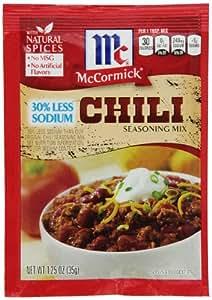 McCormick Less Sodium Chili Seasoning Mix, 1.25 oz (Case of 12)
