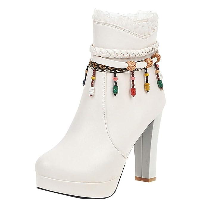 Pwtchenty Botas De Mujer Botines TacóN Alto Folk Zapatos Seguridad Nieve Plataforma Cuentas Color Encaje Bota Lateral Colores Populares