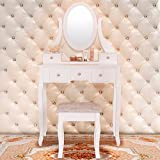 White Vanity Makeup Dressing Table Wood Desk Set w/Stool ,5 Drawers & Mirror